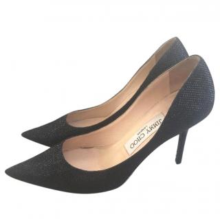 Jimmy Choo Agnes Navy Glitter Court Shoes