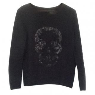 Zadig & Voltaire Black Skull Cashmere Blend Jumper