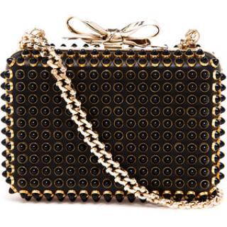 Christian Louboutin Fiocco Black Studded Evening Bag
