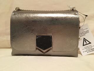 Jimmy Choo 'Lockett' Petite Metallic Leather Bag - Vintage Silver