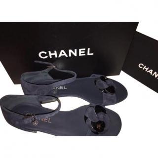 Chanel Navy Blue Camellia Flats