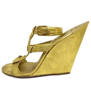 Saint Laurent Gold Wedge Sandals