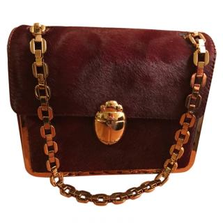 Tory burch fur and leather handbag