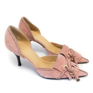 Casadei Pink Suede Pointed Toe Pumps