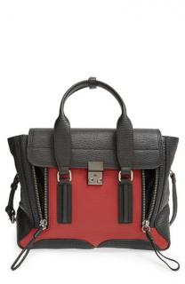 NEW 3.1 Phillip Lim Pashli Medium Satchel Handbag - Black/crimson