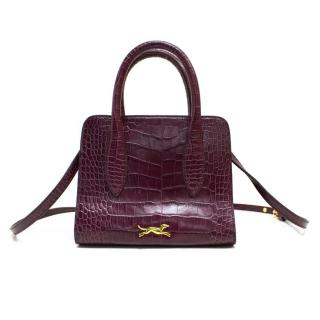 Bimba y Lola Purple Leather Mock Croc Handbag