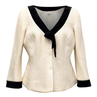 Armani Collezioni Cream Jacket With Black Velvet Trimmings