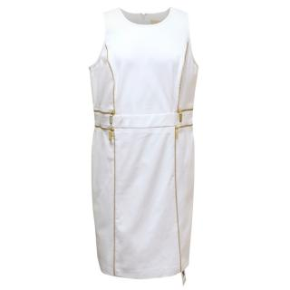 Michael Kors White Sleeveless Dress With Gold Zippers