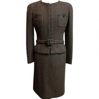 Chanel Brown Checked Skirt-Suit