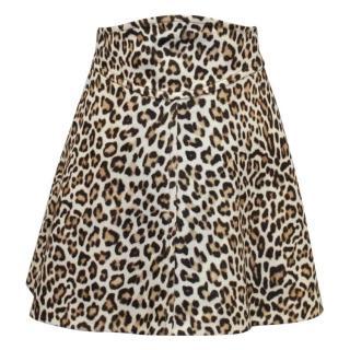 Carven Leopard Print Short Skater Skirt