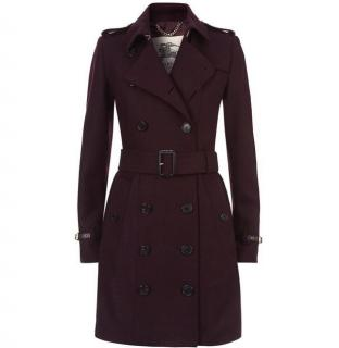 Burberry Swannington Leather Trim Wool Trench Coat