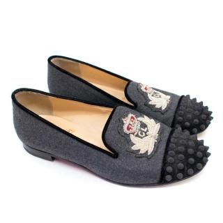 Christian Louboutin Ladies Grey Spiked Embroidered Loafers