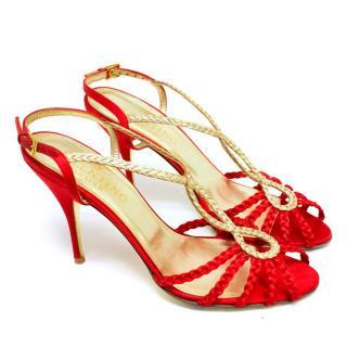 Valentino Red Satin Open-Toe Heels