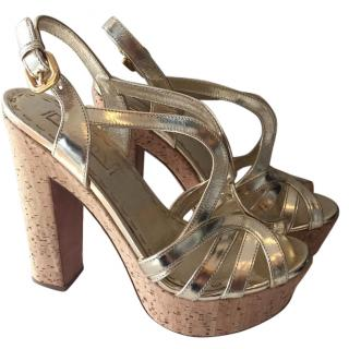 Prada Gold Metallic Leather Sandals