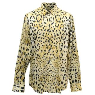 Prada Mens Yellow and Black Patterned Shirt