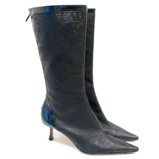 Jimmy Choo Black Leather Laser Cut Heeled Boots