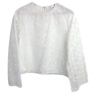 Victoria Beckham White Lace Top