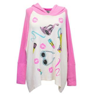 Lauren Moshi Pink and White Slouchy Hoodie
