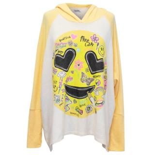 Lauren Moshi Yellow and White Slouchy Hoodie