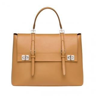 Prada City Calf Large Tote Bag - Caramel