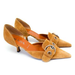 Prada Camel Pointed Toe Suede Heels with Silver Buckle