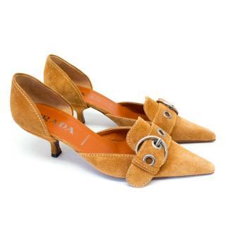 Prada Camel Pointed Toe Suede Heels with Silver Buckle