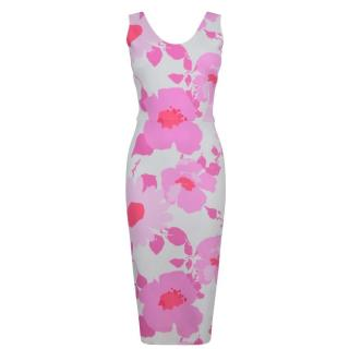 Victoria Beckham White and Pink Print Dress