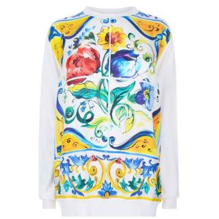 DOLCE AND GABBANA Majolica Print Silk Sweater