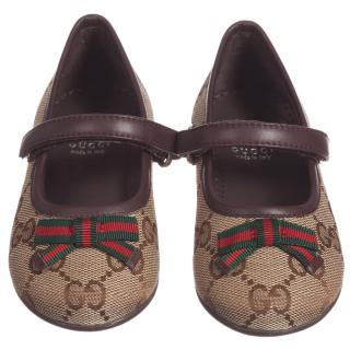 Gucci Girls Brown 'GG' Shoes with Bow