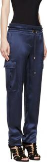 BALMAIN CARGO SATIN SILK BLUE TROUSERS
