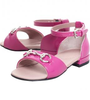 GUCCI Girls Raspberry Patent Leather Horse Bit Sandals