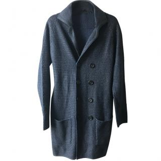 BURBERRRY PRORSUM men's runway wool coat navy blue