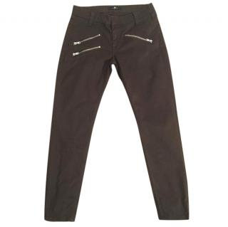 7 FOR ALL MANKIND brown skinny stretchy zip crop jeans
