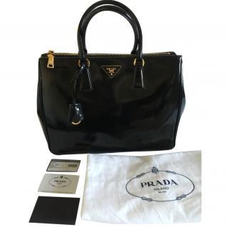 Prada Galleria Bag in Black Spazzolato