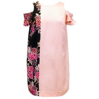 MSGM Pink And Flower Pattern Dress