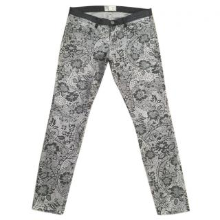 CURRENT/ELLIOTT 'Light Grey Lace' floral skinny jeans