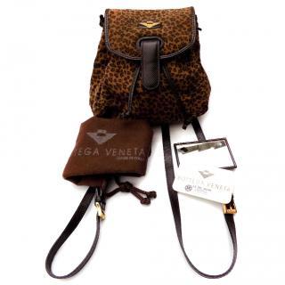 Bottega Veneta Vinatage Brown Leopard Print Mini Backpack