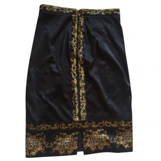 Just Cavalli Black and Gold Print Skirt