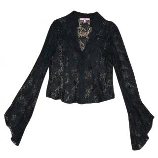 Voyage Passion black lace shirt with sequin beads