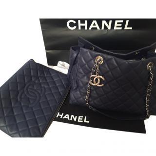 Chanel large navy quilted shoulder bag
