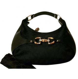 Gucci Amalfi bag in signature logo black canvas/leather