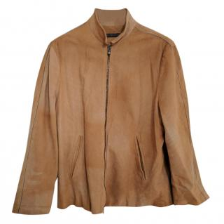 John Varvatos Light Brown Distressed Bleached Suede Jacket