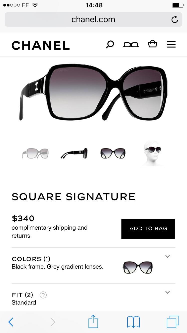 2075b18b Chanel Black Square Sunglasses