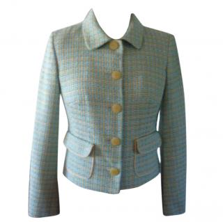 Tara Jarmon Turquoise and Yellow Woven Jacket