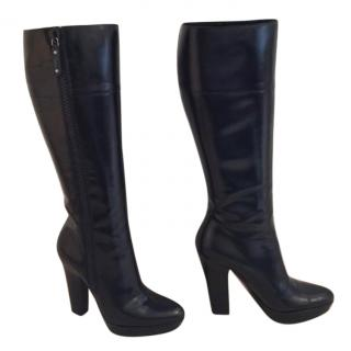 Gucci Black Knee Length Leather Boots