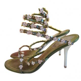 Rene Caovilla high heels logo sandals