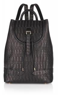 Meli Melo Black Woven Backpack 100% Leather