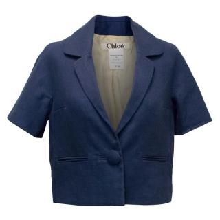 Chloe Navy Short Sleeve Silk Blazer