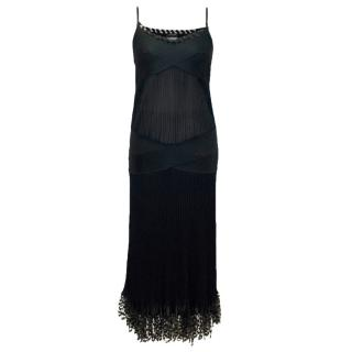 Chanel Black Pleated Strappy Ankle Length Dress