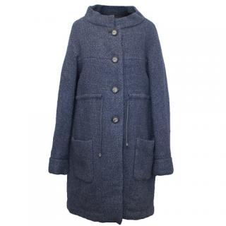 Chanel Navy Tweed Coat with Silver Buttons